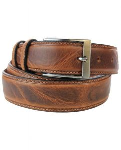 leren riem Pantalon Rundleer riem in 3,5 cm Breed - 2 Toned - Made in Italy