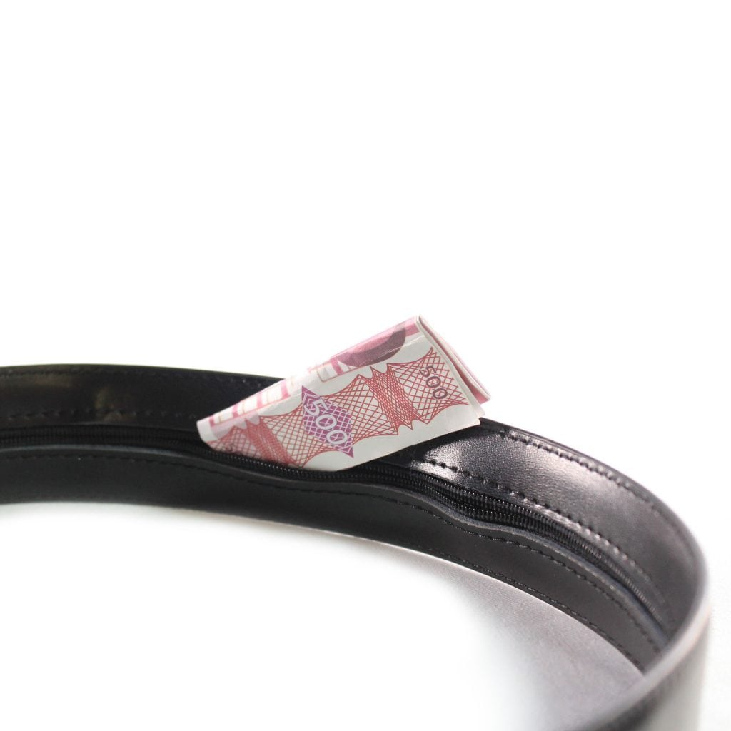 money belt echt leer zwart riem zakkenrollers tips